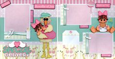 Special Delivery Baby Girl 2 Premade Scrapbook Pages Paper Piecing Layout Cherry | eBay