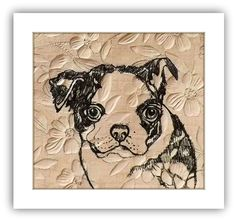 Boston Terrier Art Pen and Ink Drawing Original artwork on cream floral textured paper by maryjill on Etsy