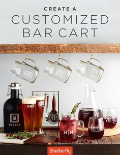 Elevate your entertaining with a customized bar cart. From personalized pilsner glasses to etched decanters, impress your guests with the finest glassware. | Shutterfly