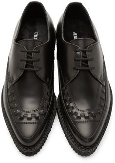 Underground Black Leather Barfly Creepers