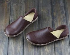 Light Brown Handmade ShoesOxford Women Shoes Flat Shoes by HerHis