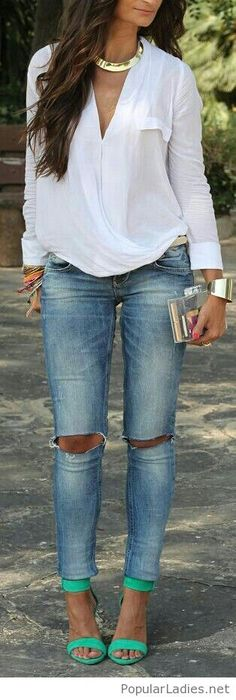 White shirt, jeans and mint sandals