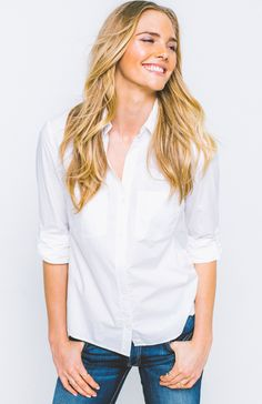 The classic essential every girl needs in her closet: The White Cotton Button Up.