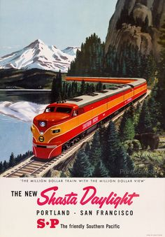 """The Million Dollar Train with the """"Million Dollar View"""" Created in the 1950's as a color halftone atåÊ59 x 41 cm. Poster shows diesel locomotive pulling passenger train on tracks by a lake in the moun                                                                                                                                                                                 More"""