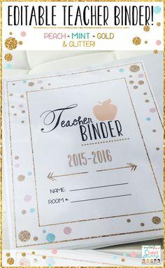 Editable Teacher Binder! Peach, Gold, and Mint colors!