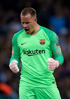 Ter Stegen goalkeeper of Barcelona celebrates his team first goal during the Group B match of the UEFA Champions League between Tottenham Hotspur and FC Barcelona at Wembley Stadium on October Get premium, high resolution news photos at Getty Images Fc Barcelona, Barcelona Soccer, Real Madrid Soccer, Leonel Messi, Cristiano Ronaldo Lionel Messi, Marc Andre, Soccer Girl Problems, Manchester United Soccer, Sports Celebrities