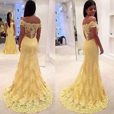Prom Dresses ,prom gown,Yellow Lace off shoulder long Prom Dress, Evening Dress by DestinyDress, $192.23 USD