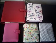 my planners: Filofax A5 Metropol red, Paperchase personal, Filofax Breast Cancer Campaign Pocket, Paperchase pocket and Hema pocket.