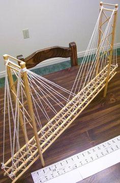 Toothpick Suspension Bridge – Garrett's Bridges: Resources to Help You Build a Model Bridge Bridge Model, Bridge Structure, Woodworking Projects For Kids, Wood Projects, Bridge Design, Suspension Bridge, Model Train Layouts, Wood Bridge, Civil Engineering