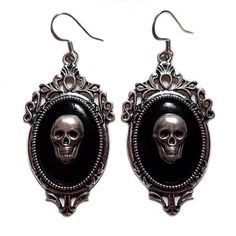 Gothic Victorian Silver Framed Skull Cameo Earrings ($20) ❤ liked on Polyvore featuring jewelry, earrings, gothic victorian jewelry, victorian jewelry, goth earrings, earring jewelry and victorian jewellery