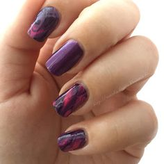 purple marbe nails black pink dripmarble