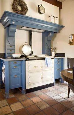 New Kitchen Design Grey Stove Ideas Aga Kitchen, Kitchen Cooker, Kitchen Tiles, Diy Kitchen Decor, Kitchen Interior, Interior Office, French Country Kitchens, New Kitchen Designs, Cottage