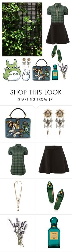 """""""Green Totoro"""" by zuevich ❤ liked on Polyvore featuring Dolce&Gabbana, Ghibli, River Island, Dsquared2, Silvian Heach, Forever 21, Tory Burch and Tom Ford"""