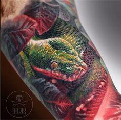 A healed lizard tattoo from Boris using Intenze tattoo ink.