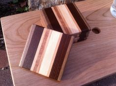 Cutting board style wood coaster set of 5