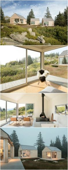 Go Logic Designs Breathtaking Trio of Modern Tiny Houses in Maine - The Maine-based architecture firm, Go Logic, designed an airy and modern trio of tiny houses that are perched on a bluff in Vinalhaven, Maine. At first glance, you may think the houses are simple with nothing special to see however you'd be wrong!