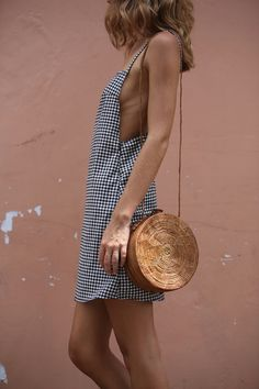 $53	ASOS The Dream Gingham Dress Black And White Checked Low Side Slit Detail Strappy Summer Mini Dress With Cute Round Basket Mini Bag Tumblr