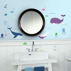 Sea Whales Peel and Stick Wall Decals