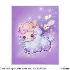 Cute chibi alpaca with kawaii shooting star poster Panda Kawaii, Kawaii Chibi, Cute Chibi, Kawaii Art, Anime Chibi, Kawaii Bunny, Kawaii Stuff, Anime Naruto, Cute Kawaii Animals