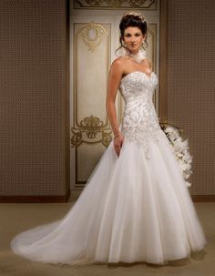 Looovveee gorgeous floor length strapless ball gown for Strapless wedding dresses with bling