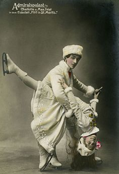 """Max Feist and his wife Charlotte performed in Berlin's Ice Balley at the Admiraspalast Theater in Germany, circa 1911. In 1915, Charlotte brought her """"ballet on ice"""" to New York City, and ignited America's interest in theatrical skating."""