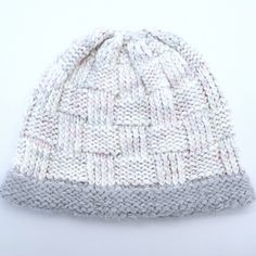 """""""Dawnland Hat"""" pattern by Becky Robbins, handknit with Morning Bright Holistic Merino Bulky in """"When I See Birches"""", with a modified brim using Morning Bright Handspun Angora"""