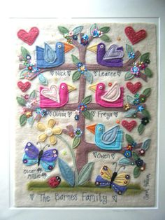 Hand made - embroidered - personalised - family tree © Sarah Pattison Design 2014 To order please email sarah.pattison603@btinternet.com