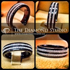 How sick is this men's wedding band? Usually when I do black gold bands I like to use black diamonds. With this design I decide to swi...