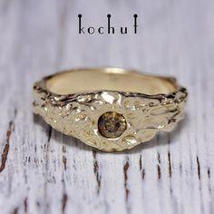 Купить Кольцо Принцесса Ацтеков - желтый, желтое золото, бриллианты, коричневый, ручная робота