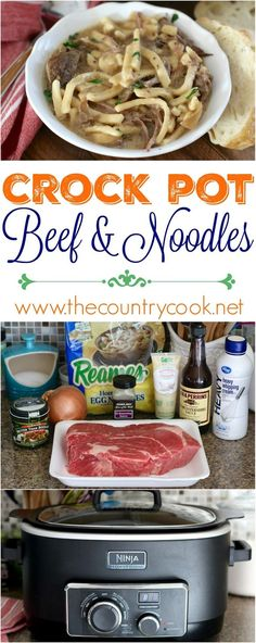 Crock Pot Beef & Noodles easy dinner recipe from The Country Cook. Chuck roast, frozen egg noodles and some other yummy ingredients make for a super flavorful meal. My family REALLY liked this one! beef easy CROCK POT BEEF AND NOODLES Crockpot Dishes, Crock Pot Slow Cooker, Crock Pot Cooking, Beef Dishes, Slow Cooker Recipes, Food Dishes, Crockpot Recipes, Cooking Recipes, Dinner Crockpot