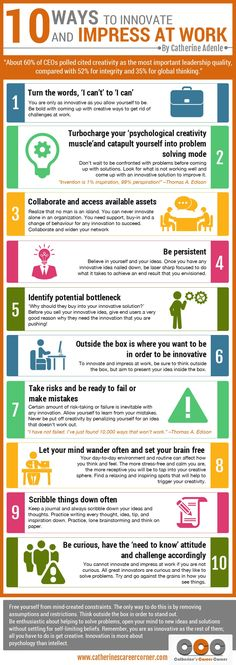 10 Ways To Innovate and Impress at Work (Infographic) Career Development, Professional Development, Personal Development, Innovation Management, Asset Management, Change Management, Business Management, Business Planning, Business Tips