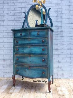 Bohemian Blue Dresser Rustic Farmhouse Dresser with Mirror #paintedfurniture #affiliate