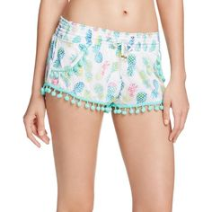 PilyQ Pina Colada Swim Cover Up Shorts ($72) ❤ liked on Polyvore featuring swimwear, multi, pineapple bikini, pineapple print bikini, swim cover up, cover up swimwear and bikini swimwear