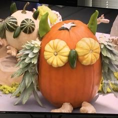 """no carve pumpkins from the kitchen on food network this morning! (""""autumn eats"""") these owl ones were killing me. pre-drill holes & attach pieces with wooden skewers. pineapple tops (the smaller owl used artichokes) for the wings, split gourds for the eyes, hot peppers for the nose and ears, & ginger for the feet"""