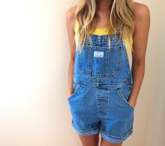 vintage Levis denim overall shorts by violetcrownvintage on Etsy