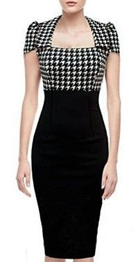 Contrast Houndstooth Pencil Dress