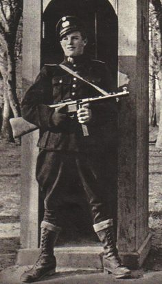 Armed policeman from the Danish Corps HIPO ( Hilfspolizei) in 1944-1945 during the German occupation of Denmark.