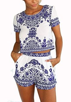 Women's White Porcelain Print Shorts Co-Ord Set Find it on: glamfashionworld.com