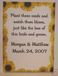 Personalized Sunflower Wedding Seed Packets Favors 50 per pack- could use any flower pack: cheap and adorable! wishing I did this instead!