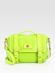 Marc by Marc Jacobs  Turnlock Python-Embossed Leather Messenger Bag