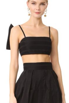 A Vika Gazinskaya crop top, detailed with a fixed, pleated knot. (Affiliate) || http://shopstyle.it/l/btgx || Summer Outfits, Summer Outfits Women, Summer Outfits 2017, Summer Outfits For vacation, Summer Outfits boho, Casual Outfits, Casual Outfits Spring, Casual Outfits Summer, Casual