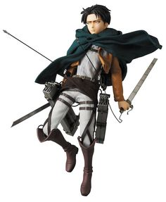 """From Medicom Toy. From the anime Attack on Titan comes a stunning new figure of mankind's strongest soldier, Levi! The leader of the Survey Corps, Levi is recreated as an RAH (Real Action Hero) figure that stands 12"""" H and features sculpting by PERFECT-STUDIO, realistic fabric costuming (including his cloak of the Scouting Legion) and a RAH male body allowing for versatile posing options. He also comes with 3 facial expressions, Three Dimensional Maneuver Gear that accommodates sword..."""