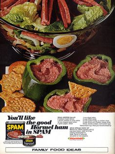 Hormel Spam ad with recipes for SPAM hostess salad and SPAM spread patio dip