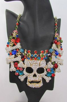 New-Women-Metal-Big-Skull-King-Skeleton-Fashion-Necklace-Gold-Silver-Rhinestones