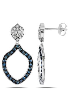 Blue And White Diamond Chandeliers In 10k White Gold