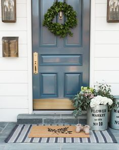 farmhouse front door entrance design ideas tips on selecting your front doors 24 Front Door Porch, Front Door Entrance, Front Door Decor, Entry Doors, Front Door Rugs, Front Storm Door Ideas, Front Porch Decorations, Fromt Porch Ideas, Front Door Planters