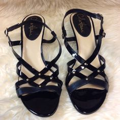 Cole Haan Strappy Sandals NWOT.  Leather and patent straps. Cole Haan Shoes Sandals