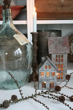 galvanized houses at Christmas . WHERE can one purchase within the USA? Small Rustic House, Christmas Holidays, Christmas Decorations, Vibeke Design, Home And Deco, Nature Crafts, Scandinavian Christmas, Glass Bottles, Cool Kitchens