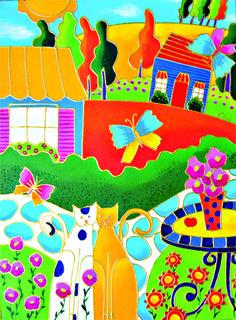 Tête-à-tête dans le jardin par Isabelle Malo • Acrylique sur toile • Folk art  • www.isamalo.com • Artiste peintre du Québec •Art naïf