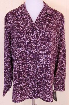 Elementz Women's Size L Long Sleeve Button 2 Tone Purple Print Top New W/Tags #Elementz #ButtonDownShirt